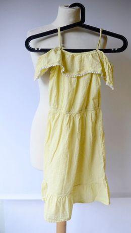 Sukienka H&M 134 140 cm 8 10 lat Żółta Falbanka Girls Hiszpanka