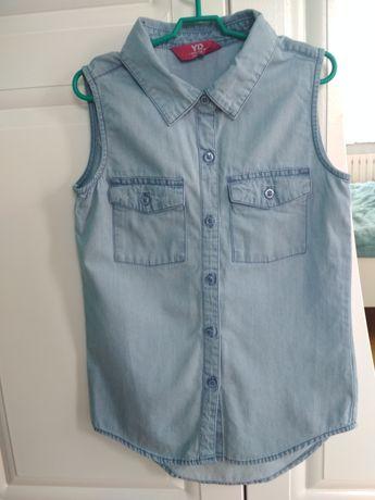 koszula jeansowa bezrękawnik 128cm 7-8lat