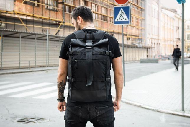 Роллтоп рюкзак городской мужской EVOLVE черный, сумка для ноутбука