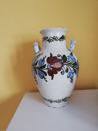 Duży wazon ręcznie malowany używany kwiaty starocie