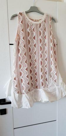 Biała sukienka azurowa boho oversize S M lato chrzest chrzciny komunia
