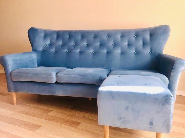 Piękna szafirowa Sofa 3-osobowa