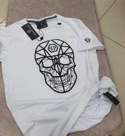 Koszulka męska biała czaszka