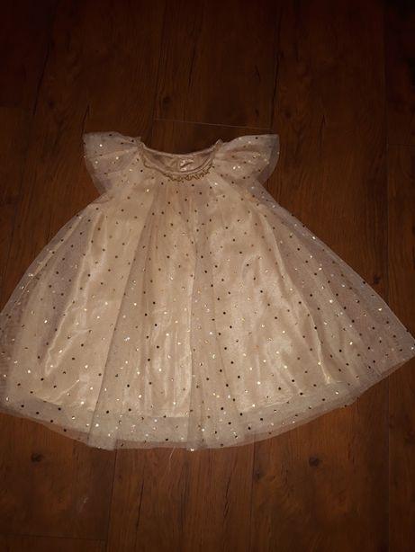 Śliczna złota sukieneczka H&M r.80