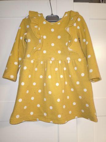 Musztardowa sukienka rękaw 18-24