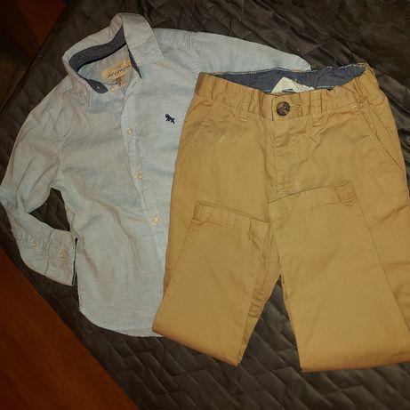 Spodnie chinosy, koszula H&M rozm. 104