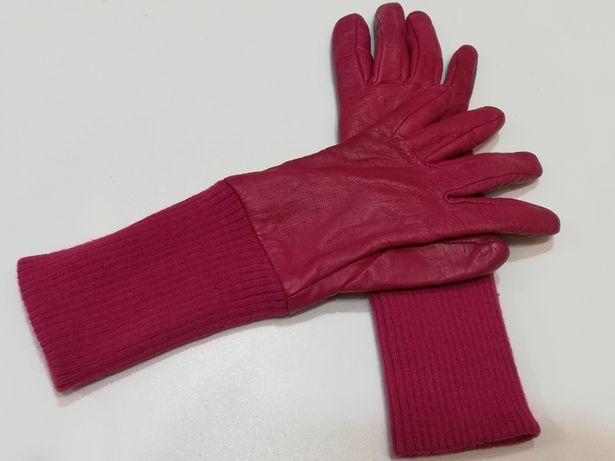 Rękawiczki damskie skórzane ocieplane kolor różowy rozmiar 6,5 (M)
