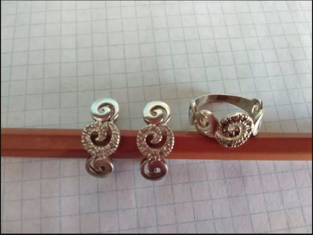 серьги и кольцо серебро 925 проба