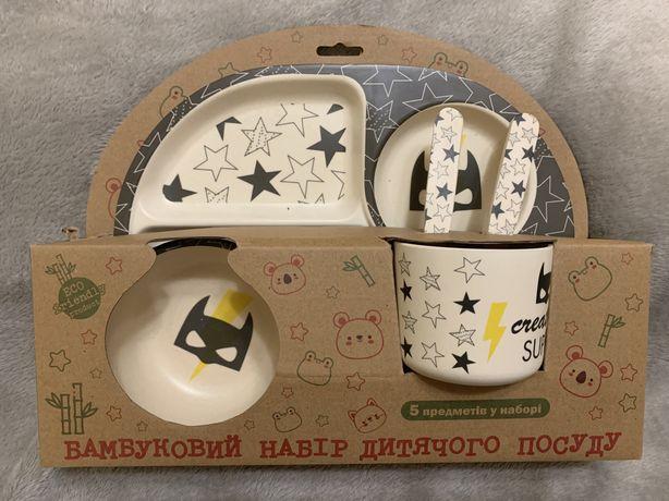 Набор детской посуды,bamboo kids set,5пр.,бетмен
