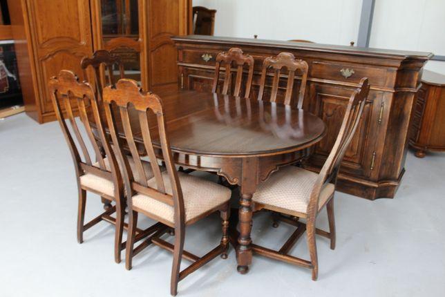 Wysokiej Jakości Drewniana Komoda + Stół + 6 Krzeseł / Lite Drewno /