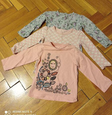 Zestaw bluzeczek 92 długi rękaw dla dziewczynki