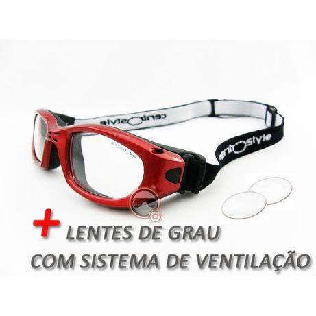 Óculos Centro Style Vermelho TM51 com lentes de Grau e Sistema de Vent