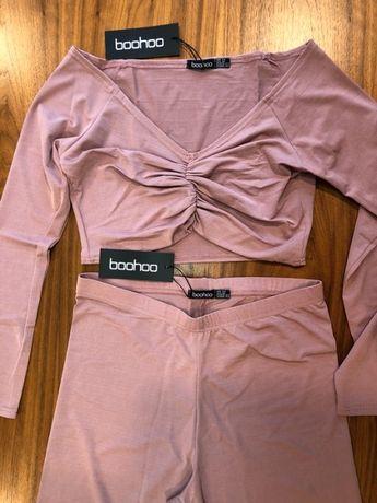 Różowy komplet top szorty - boohoo (nowy, z metką)