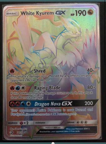Karta pokemon White Kyurem GX Rainbow