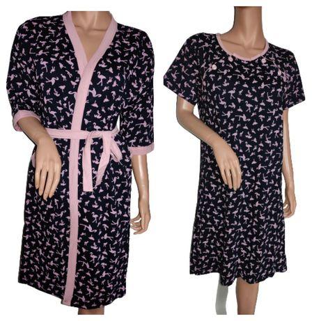 Zestaw szlafrok + koszula ciążowa r M  bawełna