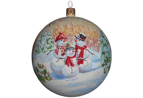 Елочные игрушки, новогодние шары с ручной росписью.