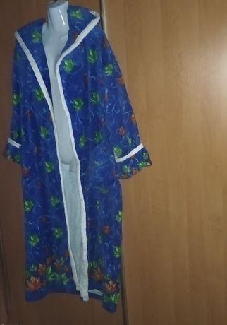 Роскошный халат 100% хлопок, халат с капюшоном тяжёлый
