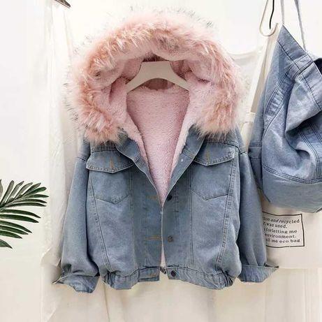 Najmodniejsza kurtka jeansowa z futerkiem parka promocja!!!