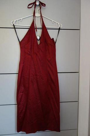 Sukienka wieczorowa bordowa wiązana na szyi XS