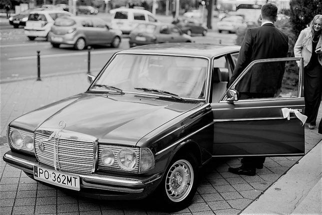 AUTO DO ŚLUBU auto na ślub sesja foto Mercedes W123 Retro 1977 WYNAJEM