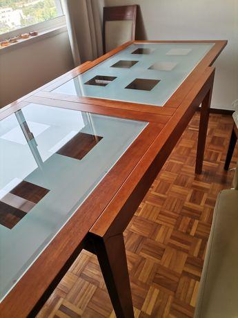 Mesa retangular extensível Madeira e Vidro