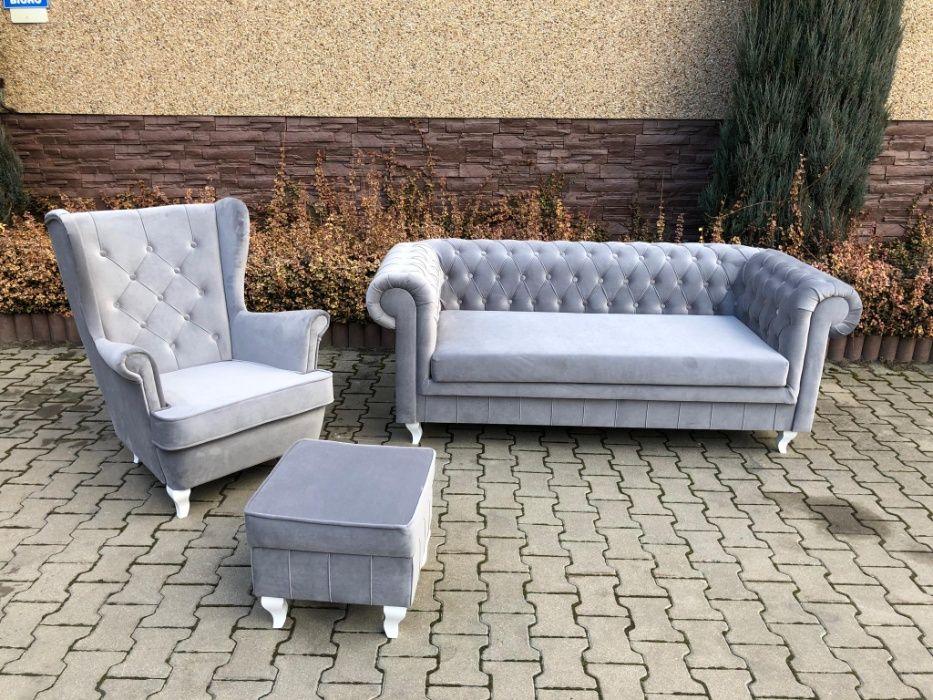 Zestaw kanapa Chesterfield + fotel uszak + podnóżek Kępno - image 1