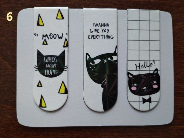 Zakładki magnetyczne do książek Zestaw 3 sztuki Koty Cute Cats