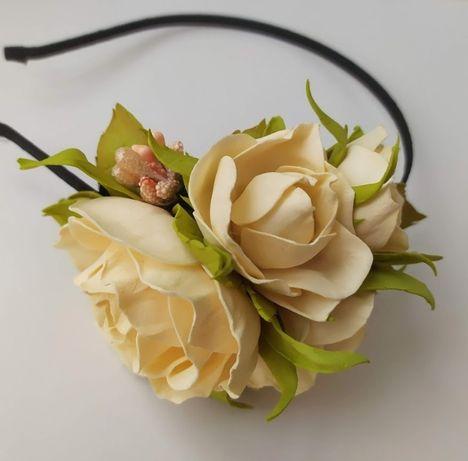 Ободок, обруч для волос с розами из фоамирана