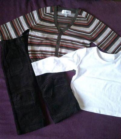 śliczny komplecik dla chłopczyka 12-18mies spodnie sweterek koszula