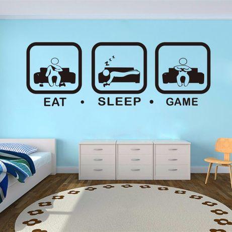 """Autocolante de parede """"EAT # SLEEP # GAME"""""""