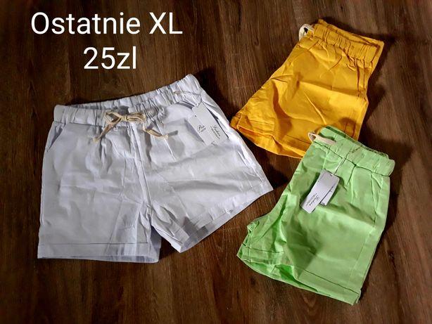 Spodenki XL białe żółte i jasny zielony krótkie
