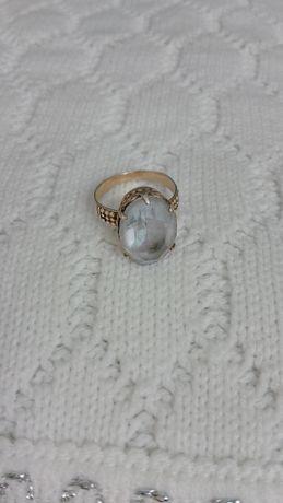 Кольцо срібне часів СССР. 875 проба, зірочка + Камінь ніжно-блакитний