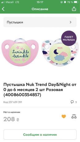 Пустышка Nuk Trend Day&Night от 0 до 6 месяцев 2 шт Розовая