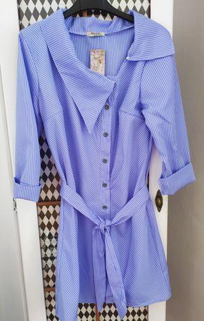 Sukienka tunika w paski koszulowa błękitna