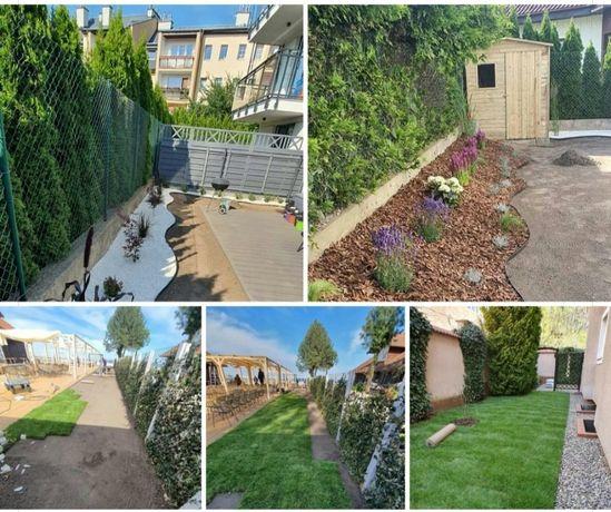 Zakładanie ogrodów ,trawa z rolki koszenie wycinka drzew