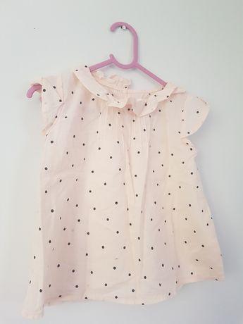 Bluzeczka H&M R.3-4 lata dziewczynka falbanka groszki