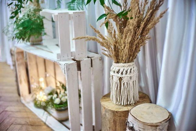 Boho rustykalne lamipony duże flakon na ślub sesje