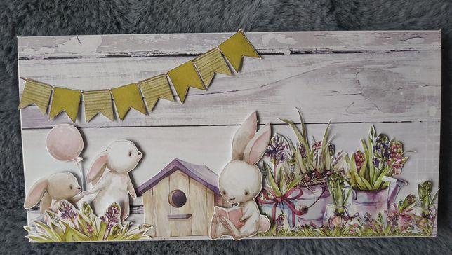 Kartka urodzinowa ręcznie robiona dla dziecka króliczki dowolny napis