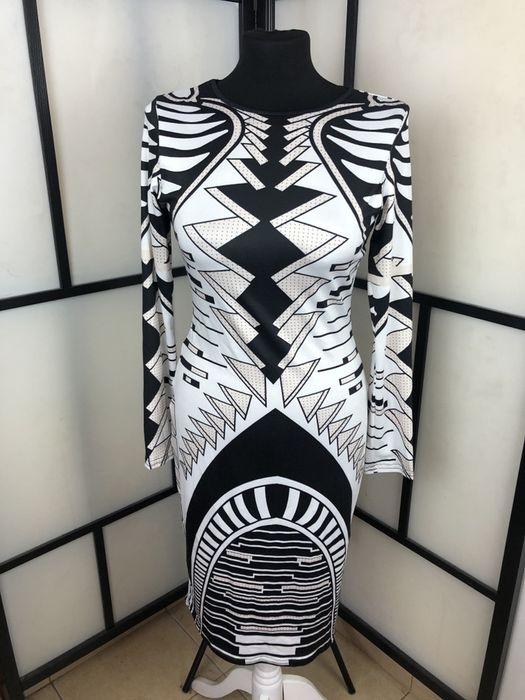 Sukienka biało czarno beżowa midi S M L XL Katowice - image 1