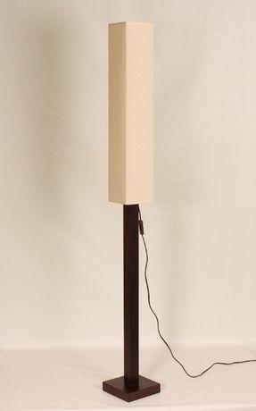 LAMPA PODŁOGOWA 150cm Drewno Buk abażur lampka salon wenga ciemny brąz