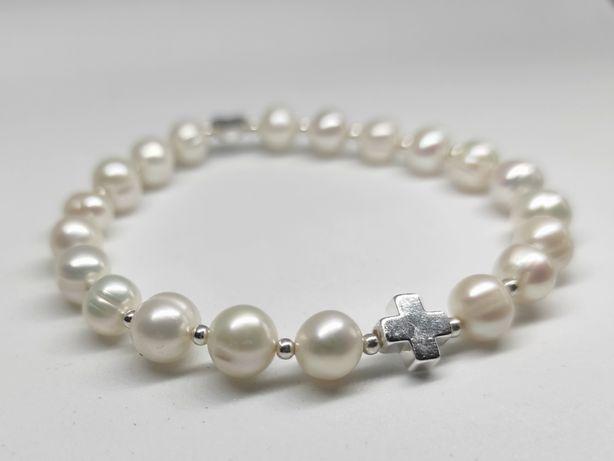 Bransoletka różaniec na rękę na gumce - perły naturalne, biały