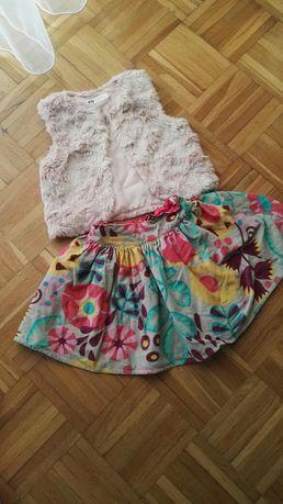 Kamizelka futrzana i spódniczka kolorowa w kwiaty 3-4 latka h&m