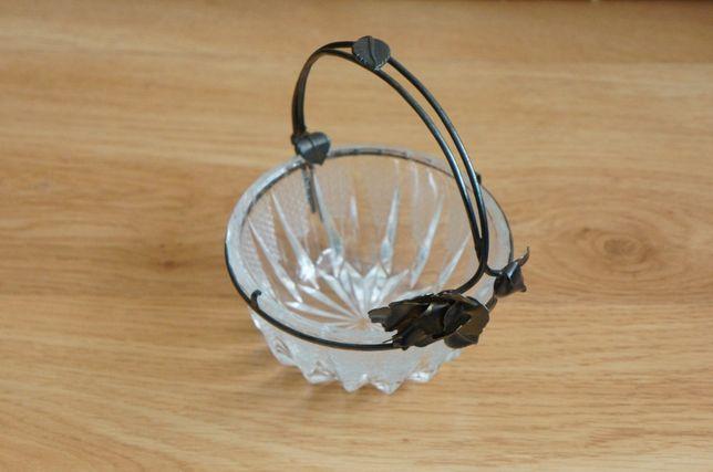 Kryształowa cukiernica pojemnik miseczka na cukier Hefra Fraget róże