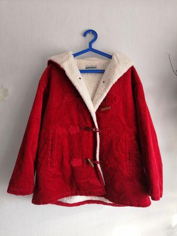 Sztruksowa kurtka z kozuszkiem z kapturem czerwona oversize vintage