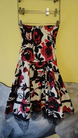 sukienka lato abstrakcyjna rozkloszowana kolorowa krótka na gumce M sa
