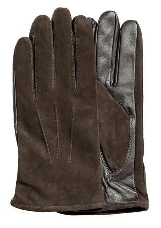 H&M кожаные перчатки коричневые мужские