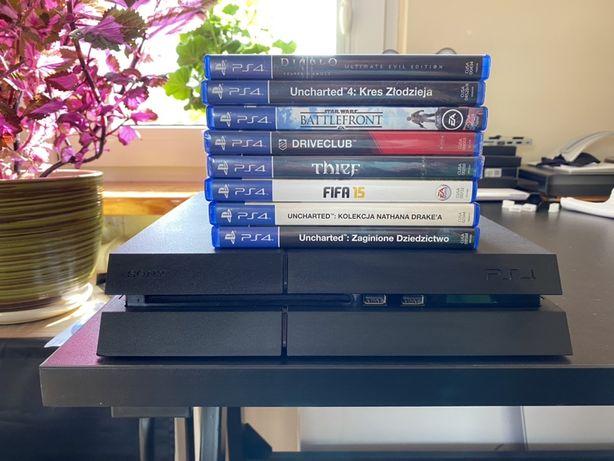 PS4 playstation 4 + 2 pady + podstawka do konsoli + ładowarka do padów