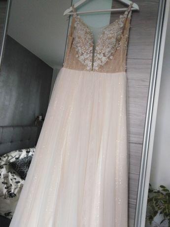 Suknia ślubna brzoskwiniowa rozporek rozcięcie brokatowy dół