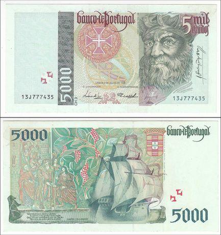 Notas de Portugal - 20, 500, 1.000, 2.000 e 5.000$00