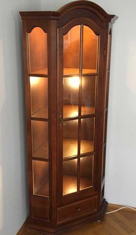 Gablota narożna podświetlana szafa narożna salon